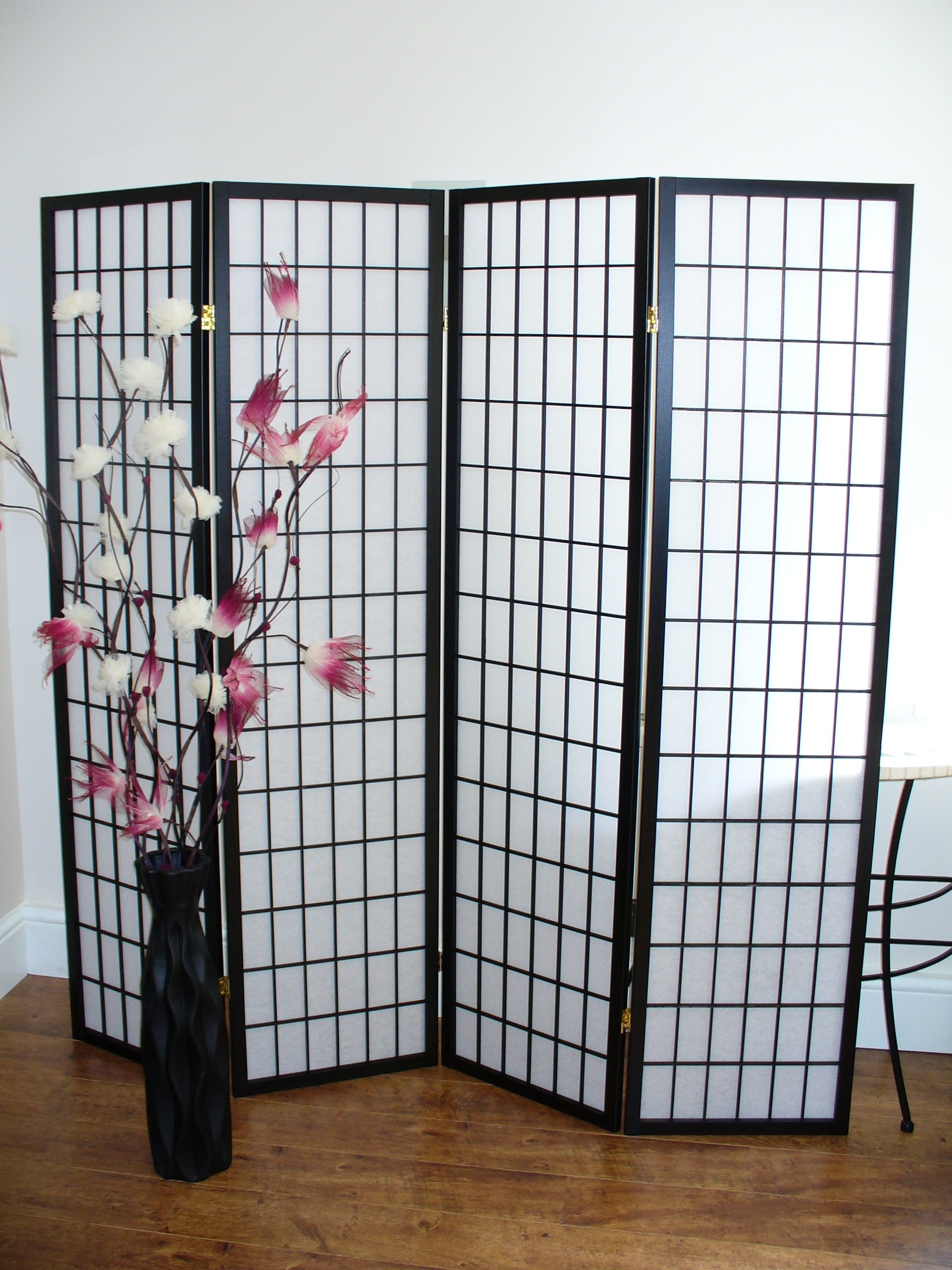 Shoji Black 4 Panel Room Divider Or Screen The Original Screen Company